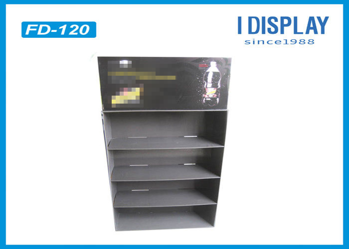 Black Four Shelf Free Cardboard Retail Display Stands Units For Beverage